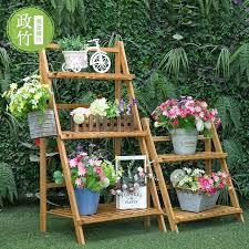 outdoor garden flower bamboo folding multi layer solid wood shelves shelf storage rack ladder diy