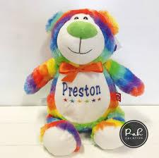 Rainbow Bear Cubbie Personalised Teddy Rah Creative