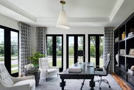 office in the home. A Contrasting Color Scheme Of Black And White-gray Exudes Sense Sophistication, As Do The Complementary Textures In Rug Center Wall Covering. Office Home T