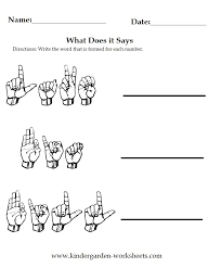 Kindergarten Worksheets: Worksheets - Sign Language