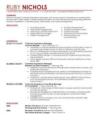 Customer Experience Manager resume example
