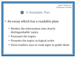 basic features of a concept explanation ppt an essay which has a readable plan