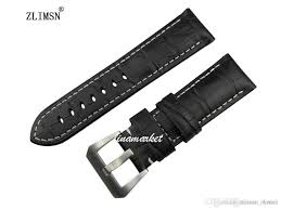 thick genuine leather watch band 24mm for panerai black strap bracelet mens watches band leather watchband rubber black leather watch band rubber watch band