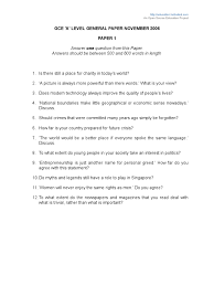 gce a level essay questions by year singapore science