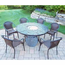 oakland living tuscany 8 piece black patio set with 60 round table 6 stackable chairs and stainless steel ice bucket