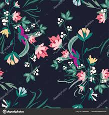 Naadloze Patroon Met Kleine Bloemen Op Een Donkere Achtergrond
