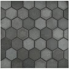 black mosaic tiles black resin glass