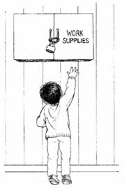 bring work home. A Child Reaches Toward Locked Cupboard Labelled \ Bring Work Home