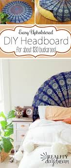 super simple upholstered headboard using a round tapestry reality daydream boho