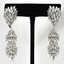 wedding bridal chandelier earrings silver white gold plated