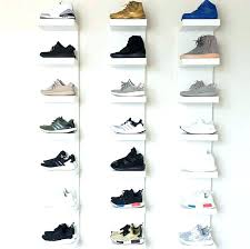 vertical shoe rack sneaker storage wall mounted basketball room designs ikea display with the shelves shoe shelf