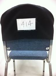 chair back covers. this chair cover has a clear plastic window for printed insert of your logo or message. back covers