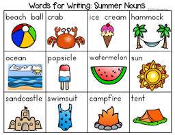 Summer Word List Summer Nouns Verbs Adjectives Parts Of Speech Word List Writing Center