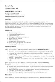 Procurement Resume Sample Professional Sourcing Specialist Templates To Showcase Your
