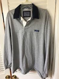 ll bean lakewashed rugby traditional fit long sleeve solid gray blue large