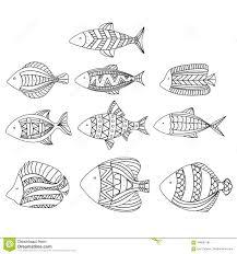 Insieme Dei Pesci Stilizzati Di Vettore Raccolta Del Pesce Dell