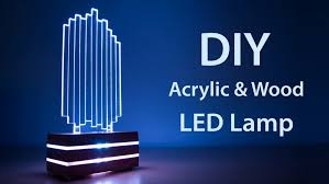 diy acrylic and wood color changing led lamp featured