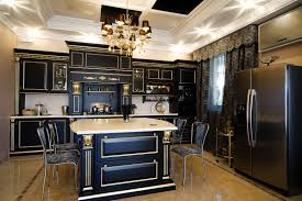 dark kitchen cabinets. Ultra Luxurious Kitchen Features Gilded Black Wood Cabinetry Over Beige Marble Flooring. White Countertops Dark Cabinets O