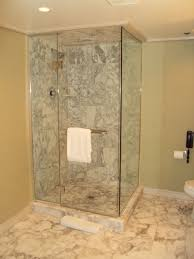 mesmerizing bathroom shower design with decorative marble floor and wall plus black phone large size