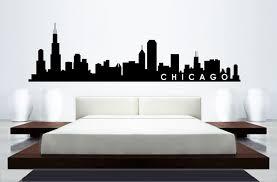 skyline mural wall sticker chicago skyline home decor building