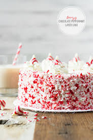 Boozy Chocolate Peppermint Layer Cake with Peppermint White