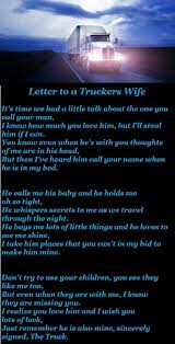 Letter to a truckers wife | Truckers Life | Truckers girlfriend ...