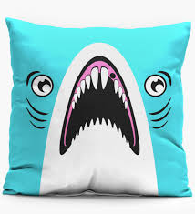Mr. Gugu & Miss Go, Blue Shark pillow Image $i