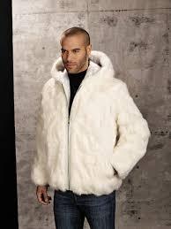 mens genuine rabbit fur hooded jacket white