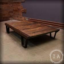 Industrial Coffee Table Cart Vintage Industrial Wood Work Cart Cast Iron Legs Coffee Table