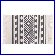 kimode moroccan cotton area rug hand woven cream black chic diamond print tass