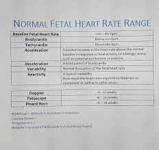 Fetal Heart Rate By Week Chart Normal Fetal Heart Rate Range Fetal Heart Monitoring