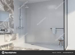bathroom corner shower. Exellent Bathroom Coin Salle De Bain En Marbre Blanc Avec Un Permanent Lu0027vier Sur Une  Tagre Long Et Miroir Horizontal Suspendus Audessus  And Bathroom Corner Shower