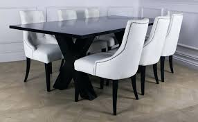 white leather dining room chairs outstanding sets home design mid century interior 4