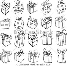 birthday present clip art black and white. Unique Art Christmas Or Birthday Gifts Coloring Page  Csp16745005 In Birthday Present Clip Art Black And White L