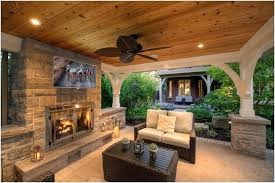outdoor fireplace on covered deck designs