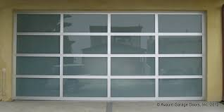 contempora ry full view glass garage door with clear anodized aluminum frames and white laminated glass 16 x7
