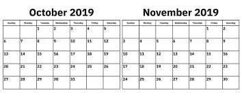 November November Calendar October November 2019 Calendar Printable 2 Month Templates