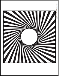 Small Picture 3D Illusion Geometric Coloring Pages Circle To Square