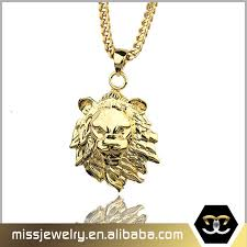 china hip hop 24k gold plated lion head pendant necklace for rock man china lion head pendant pendant for rock man