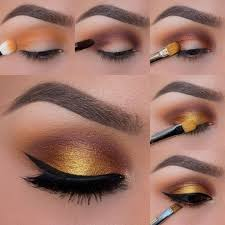 brown eyes makeup tutorial black eye liner golden yellow eyeshadow pi