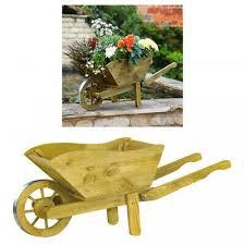 woodland wooden wheelbarrow planter medium garden ornament 32wx70h smart garden