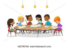 boys and girls sitting around round table studying reading books and discuss them kids talking to each other at school library cartoon vector