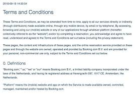 screenshot of booking terms and conditions page