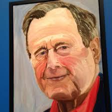 a portrait of former president george h w bush by his son former president george w bush