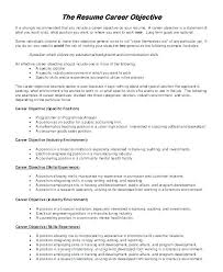 Sample Objectives For Resume Fascinating Sample Career Objectives Resumes Kenicandlecomfortzone