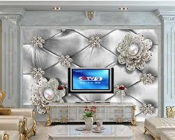 Beibehang Custom Grote 3d Behang Luxe Parel Bloemen Zachte Koffer Tv