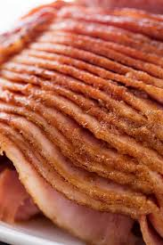 slices of honey baked ham with glaze