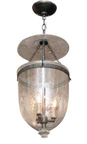 etched clear glass bell jar pendant light