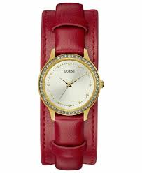 guess women s red leather strap watch 38mm created for macy s starting at 48 similar products also available now on