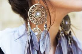 Dream Catcher Earings Impressive Earrings Feathers Dreamcatcher Romantic Blue Jewels Grey Jewels